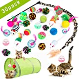 UINKI Cat Toys 30 Pcs Kitten Toys Sets, Cat Tunnel, Cat Feathers Wand, Crinkle Balls, Bells Toys, Interactive Toys Kits for Indoor Cats Kitty