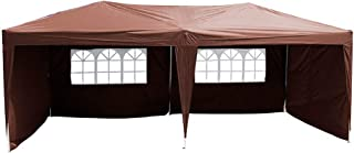 Polar Aurora 10' X 20' Easy Pop up Canopy Party Tent Outdoor Patio Wedding Party Tent Folding Waterproof w/ 4 Removable Sidewalls and Portable Bag- Coffee Brown