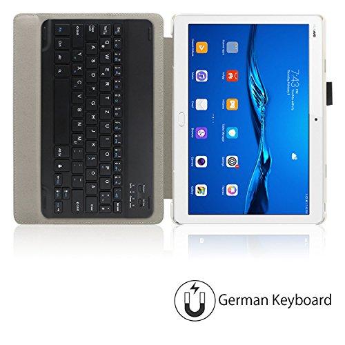 Infiland Huawei MediaPad M3 Lite 10 Tastatur Hülle, Ultradünn leicht Ständer Schutzhülle mit magnetisch abnehmbar Tastatur für Huawei MediaPad M3 Lite 10(QWERTZ Tastatur,Dunkleblau) - 4