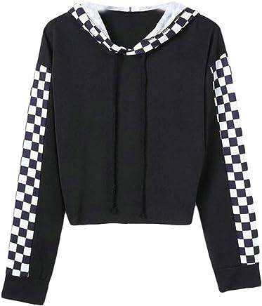 044cca6027e ARTFFEL Women s Long Sleeve Checkerboard Print Pullover Hoodie Hooded  Sweatshirt Tops