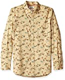 Marca Amazon – Goodthreads – Camisa estampada de manga larga de popelina y corte estándar para hombre, Gris (tan duck print), US S (EU S)