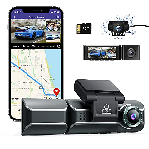 """AZDOME M550 Dash Cam 3 Channel, Front Inside Rear 1440P+1080P+1080P Car Dashboard Camera Recorder, 4K+1080P Dual, 3.19"""" IPS, Built in WiFi GPS, IR Night Vision, Capacitor, Parking Mode, with 32GB Card"""