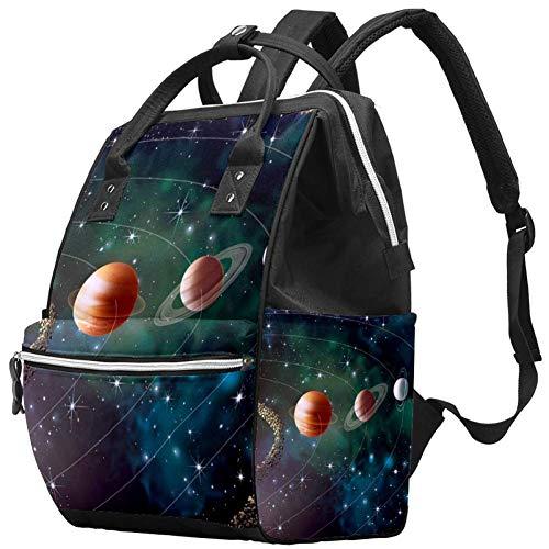 Bennigiry - Sac à langer - Système solaire Planets Galaxy Space - Grande capacité - Sac à dos de voyage - Sac à langer - Organisateur multifonction - Pour bébé - Pour maman