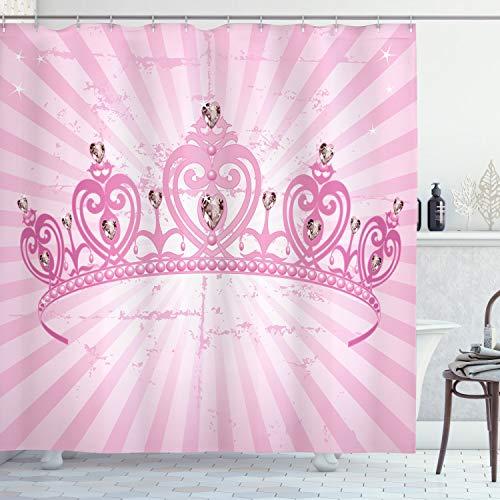 ABAKUHAUS Mädchen Duschvorhang, Rosa Prinzessin, mit 12 Ringe Set Wasserdicht Stielvoll Modern Farbfest & Schimmel Resistent, 175x180 cm, Hellrosa Rosa