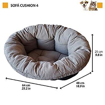 Coussin Ferplast pour Chien et Chats Coussin Sofa' 4 Coussin de Rechange Rembourré pour Corbeille en Plastique, Coton Doux Lavable, Réglable avec Cordon Élastique, 64 X 48 X H 25 cm Gris