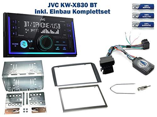 Autoradio Einbauset geeignet für Alfa-Romeo 147 | GT inkl. JVC KW-X830BT & Lenkrad Fernbedienung Adapter in Anthrazit
