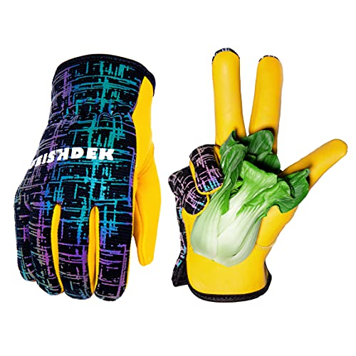 Kids Genuine Leather Work Gloves, Kids Gardening Work Gloves, Safety Glove, Reflective, Breathable Design, Perfect for Children Gardening, Yard Work, Outdoor (Large, Black, 7-9 Years Old)
