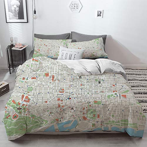 3 Piece Duvet Cover Set No Wrinkle Ultra Soft Bedding Set,Map,Map of Barcelona City Streets Parks Subdistricts Points of Interests Decorative,Bei,2 pillowcase 50 x 75cm 1 Pc Bed sheet 260 x 220cm