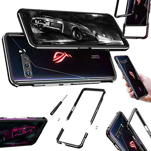 Wigento Für ASUS ROG Phone 3 Aluminium Metal Bumper Rahmen Schutz Silber Handy Tasche Hülle Etuis Schiock