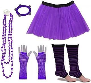 A-Express Mujer Chicas Neón Falda Tutu Calentador de Pierna Rayas Collar Guantes Fiesta Disfraces completar Conjunto - Púrpura EU46-54