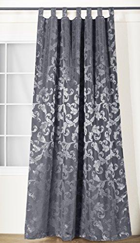 Schlaufenschal Lyon silber grau | Barock | BxH 140x245cm | mit Universalband | Vorhang mit 7...