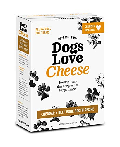 Dogs Love Us Cheese Dog Biscuits, All Natural Pet Treat Snack, Gluten Free, Cheese & Beef Bone Broth Recipe, 10 oz. Boxes 6-Pack (DLK-53303-6)