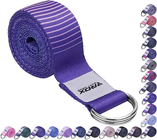 RDX Correa Yoga con Hebilla D-Anillos para Gimnasia,8ft Correa de Yoga Flexibilidad Ejercicios de Estiramiento Duraderos Poliéster Algodón Cinturón de Yoga Estirar Fitness Pilates (MEHRWEG)