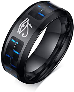 Hisatan Ancient Egyptian Symbol Eye of Horus Ankh Cross Protection Wedding Band Stainless Steel Carbon Fiber Inlay Ring fo...