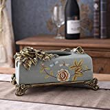 Caja de tejido multifunción europea Caja de papel Caja de papel Tabla de café para el hogar Mesa de café con control remoto creativo Almacenamiento Tray Papel Towel Box + Cerámica Fruit Bowl + Cenicer