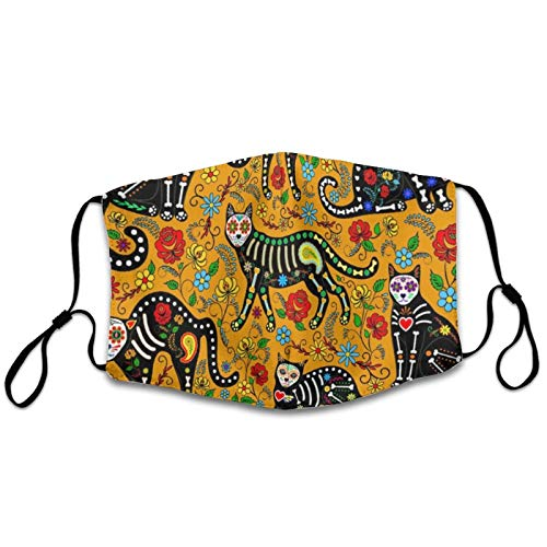 NiYoung Women Men Anti-Dust Windproof Face Mask for Outdoor, Reusable Mouth Scarf with Adjustable Elastic Band (Sugar Skulls Calavera Cats Half Face Mouth Cover)