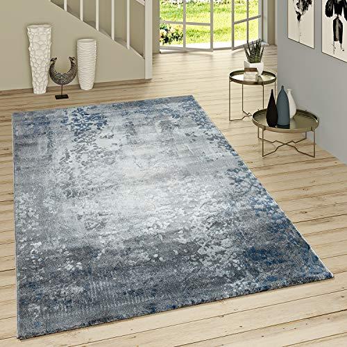 Paco Home Kurzflor Teppich Modern Orientalisches Muster Vintage Style Ombre Look Grau Blau, Grösse:120x170 cm