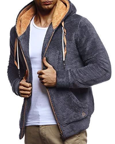 Leif Nelson Herren Sweatjacke Teddy Fleece Jacke mit Kapuze Freizeitjacke für Männer Kapuzenjacke Hoodie Übergangsjacke LN20115 Größe M Anthrazit