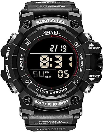 PKLG Reloj Digital Deportivo para Hombre Pantalla Luminosa LED Cronómetro Correa de Caucho Impermeable y anticaída(A)