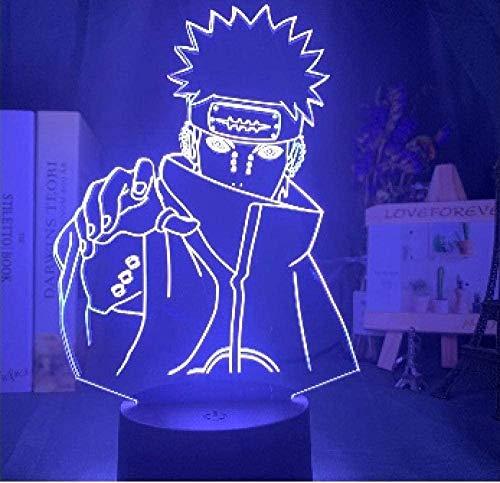 giyiohok 3D Illusion Lamp Led Night Light Naruto Nagato Figure Children Color Changing Kid s Bedroom Birthday Gift Table Lamp Six Paths of Pain