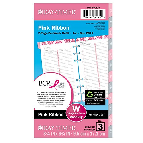 "Day-Timer Weekly Planner Calendar Refill 2017, Two Page Per Week, 3-3/4 x 6-3/4"", Portable Size, Pink Ribbon, Breast Cancer Awareness (11270)"