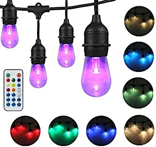 DAKASON LED Color Changing Outdoor String Lights for Patio, 48FT LED String Lights with 24 +2 Acrylic Light Bulbs and Remote, Weatherproof Commercial Grade ETL Listed