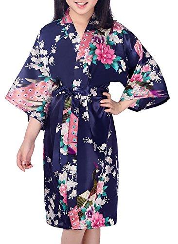 Admireme Girls' Peacock Satin Kimono Robe Bathrobe Nightgown for Spa Party Wedding Birthday Dark Blue