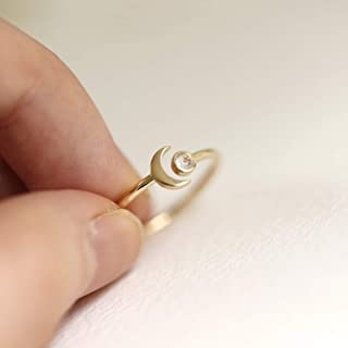 Crescent Moon Moonstone Open Ring Band, 10K 14K Solid Gold Ring Band, Dainty Unique Open Ring, Natural Moonstone Ring, Stackable Rings