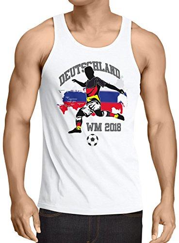 style3 WM 2018 Deutschland Herren Tank Top Fußball Weltmeisterschaft Trikot Germany, Größe:S, Farbe:Weiß