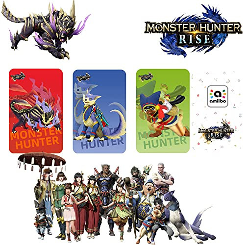 Tarjeta De Etiqueta NFC Monster Hunter Rise De 3 Piezas (Incluye: Palamute, Palico, Magnamalo), Compatible Con Switch / Switch Lite, Tamaño De Tarjeta De Crédito