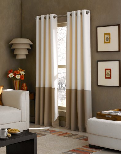 Curtainworks Kendall Color Block Grommet Curtain Panel, 95 inch, White / Dark Grey