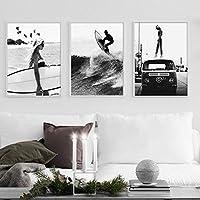 北欧のポスターとプリントブラックホワイトガールサーフィンウェーブニューヨークウォールアートキャンバス絵画写真リビングルームの装飾用40X60cm16x24inchx3フレームなし