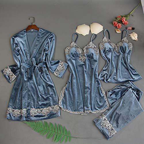 Dames Pyjama,Dames Pyjama Sets 4 Stuks Fluwelen Nachtkleding Nachtkleding Borduren Pyjama Spaghettiband Slaaplounge Homewear Pakken Lingerie Pijama Borstkussens