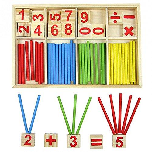 Bloques de madera de juguete, juguetes educativos Montessori, barras de inteligencia matemática, tarjetas de madera con números y contadores de varillas con caja
