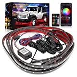 Car Neon Accent Underglow Lights,TACHICO Ultra Long Exterior Car Lights with Smart Brake Function and Extension cord,16 Million Colors Waterproof App Control Underground Light with Sync to Music,DC12V