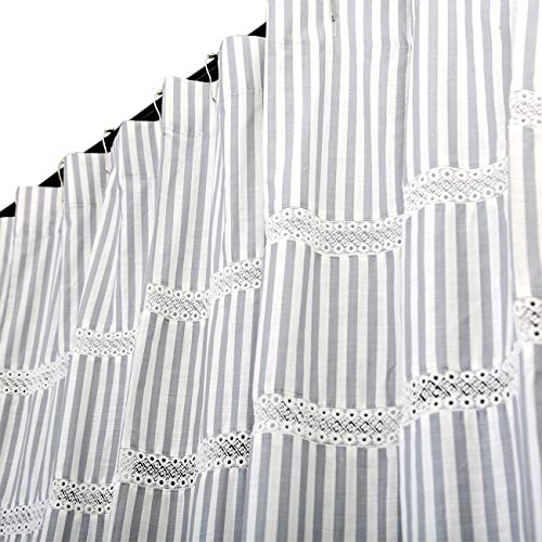 Eastern Cotton Fabric Shower Curtain with Lace Trims and Ruffled Bottom, for Spa, Hotel Luxury, Stripe Decorative Shower Curtains for Bathroom 72 x 72 Inches White Gray