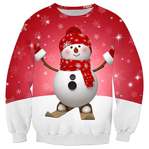 Unisex Sweatshirt Langarm 3D HD Schneemann Drucken Loose bequem Weihnachten top Frühling, Herbst und Winter neu Outdoor Sport Mode Casual Daily Wear Streetwear M