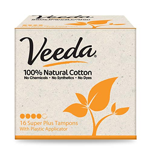 Veeda 100% Natural Cotton Compact BPA-Free Applicator Tampons Chlorine, Toxin and Pesticide Free, Super Plus, 16 Count