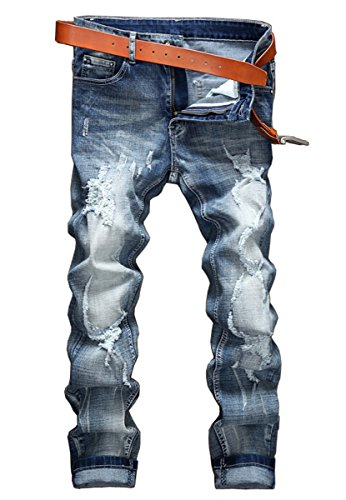 Men's Heavy Distressed Beggar Pale Ripped Denim Jeans Washed Blue 36