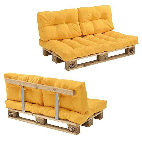 [en.casa] Euro Paletten-Sofa - DIY Möbel - Indoor Sofa mit Paletten-Kissen/Ideal für Wohnzimmer - Wintergarten (1 x Sitzauflage und 2 x Rückenkissen) Senffarben - inkl. 2 Europaletten + Rückenlehne