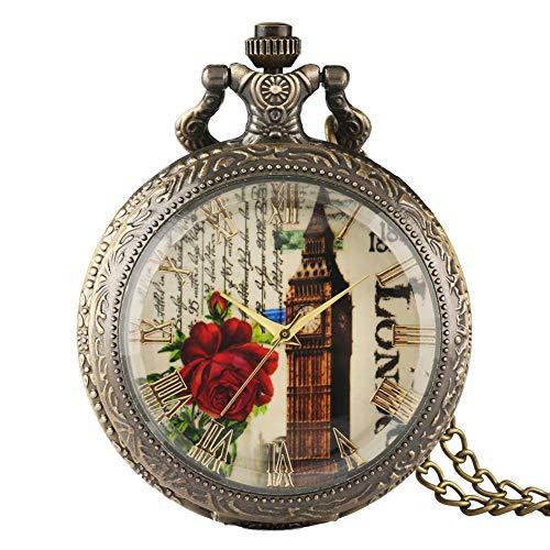 Reloj de Bolsillo para Hombre, diseño de Torre de Londres, con Cubierta de Cristal Transparente