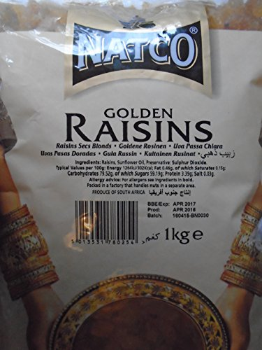 Natco - Pasas doradas (1 kg, 2 unidades)