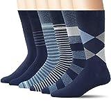 +MD Mens Bamboo Dress Socks, Moisture Wicking Solid & Patterned Business Crew Socks, 6 Pack Navy 10-13