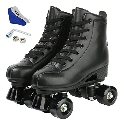 LEAFIS Women's Roller Skates Classic Leather High Top Double Row Skates Four-Wheel Shiny Roller Skates Perfect Indoor Outdoor Adult Roller Skates with Bag (Black Wheel,275/uk8/eur42)