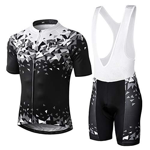 INBIKE Maillot Cyslisme Manches Courtes + Cuissard Bretelle 3D Coussin Solide Tenue VTT Combinaison Vélo Jersey Respirant Séchage Rapide Cycliste Homme Printemps Ete (Bretelle,L)