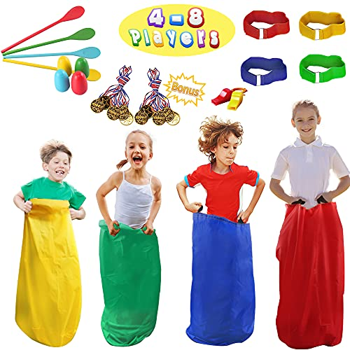 28 PCS Potato Sack Race Bags, Egg and Spoon Race, Carnival Games 3-Legged Relay Race Bands, Outdoor Games for Kids and Adults (with Game Prizes & Whistles), Outside Yard Lawn Birthday Party Games