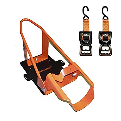 Lock N Load BK1000 Deluxe Motorcycle Wheel Chock with Quick-Release Ratchet & D-Ring System (Orange/Black) from Lock 'N Load
