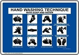 calcoman/ía de Advertencia para Etiqueta Pegatinas de Vinilo para lavarse Las Manos calcoman/ías de Advertencia con Texto en ingl/és 14 x 10 Pulgadas Autoadhesivo Color Azul
