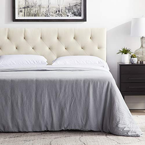 """LUCID Mid-Rise Upholstered Headboard - Adjustable Height from 34"""" to 46"""", Queen, Pearl"""