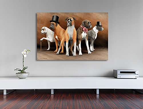 Steampunk Boxer dogs - all colors - print on canvas